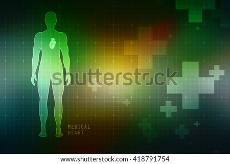 2d Human heart with human body - stock photo