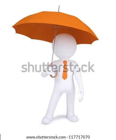 3d human holding an orange umbrella. Isolated on white background