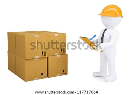 3d human in a helmet with notepad next to cardboard boxes. Isolated on white background - stock photo