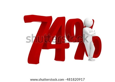 3d human leans against a red 74%