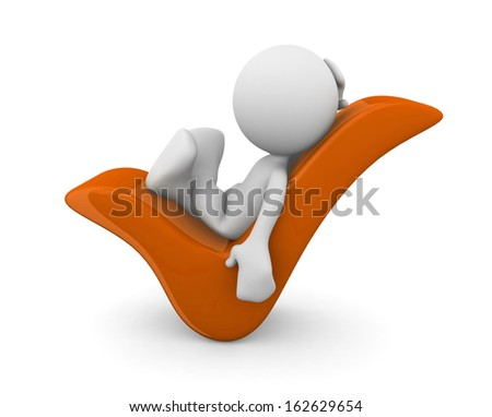3d human on a check mark. 3d illustration. - stock photo