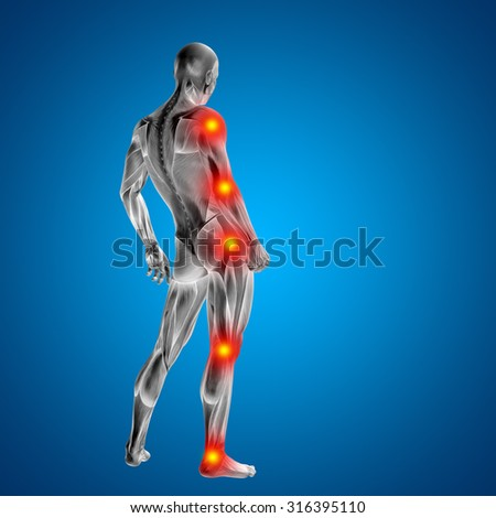 3D human or man with muscles for anatomy or health designs with articular or bones pain isolated on blue background for medical, fitness, medicine, bone, care, hurt, osteoporosis arthritis or body - stock photo