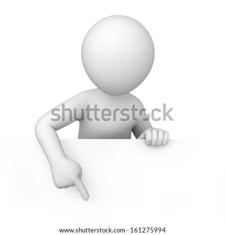 3d human points a finger down. 3d image with a work path - stock photo
