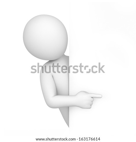 3d human points a finger. image with a work path - stock photo