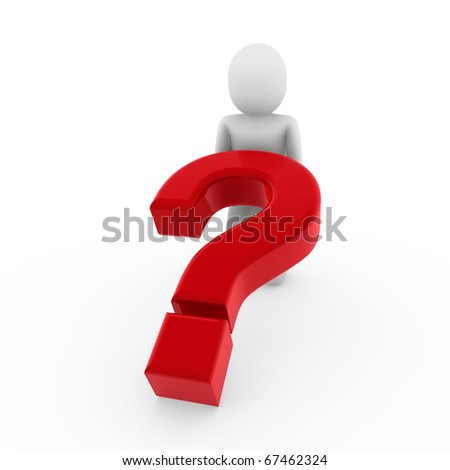 3d human question mark red business symbol isolated