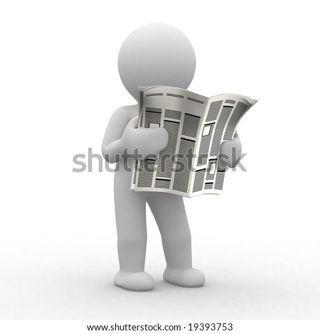 3d human read his news paper