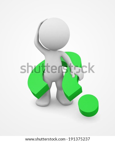 3d human scratching head with a question marks. 3d illustration.