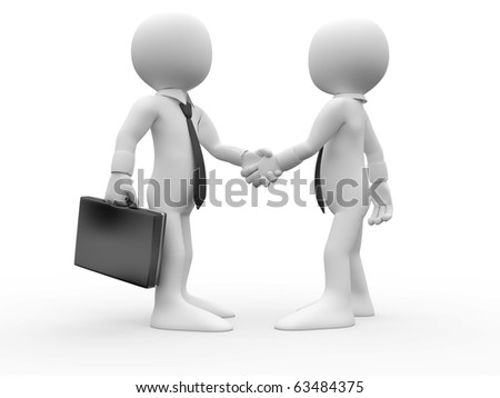 3D Human shaking their hands in agreement and have reached a business deal - stock photo