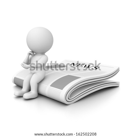 3d human sitting and thinking on newspaper - stock photo