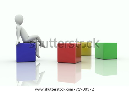 3d human sitting on a cube in front of sparse cubes