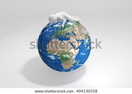 3d human sleeps on Earth - Europe, Africa, Middle East - stock photo