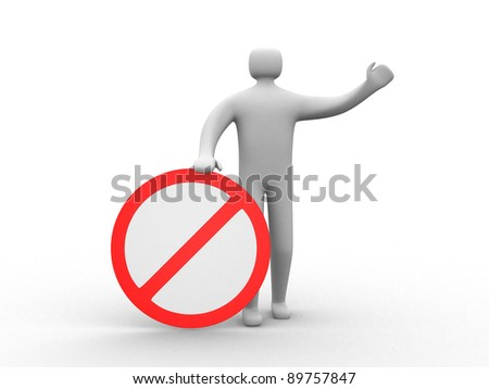 3d human stop red sign white warning symbol - this is 3d render illustration