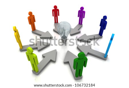 3D Human teamwork direction concept light bulb link colorful white background