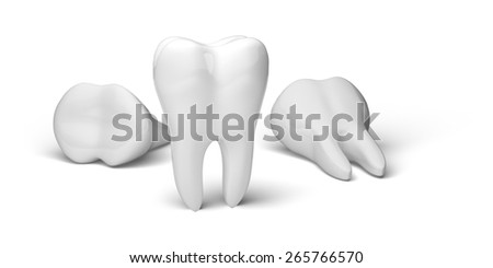 3D. Human Teeth, Dental Hygiene, Dental Equipment. - stock photo