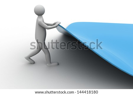 3d human turns page - stock photo