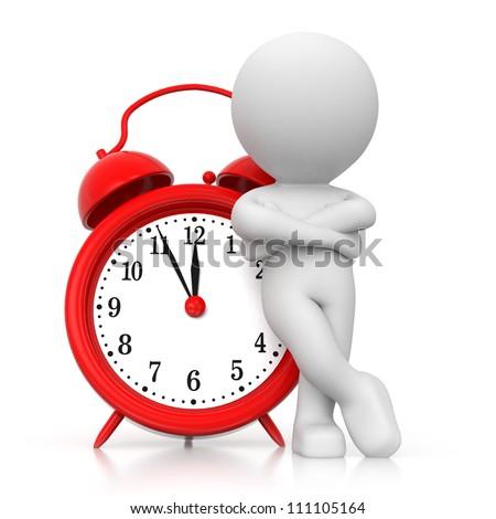 3D human waiting with alarm clock - stock photo