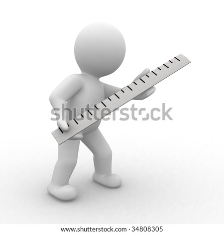 3d human with a big ruler in hands