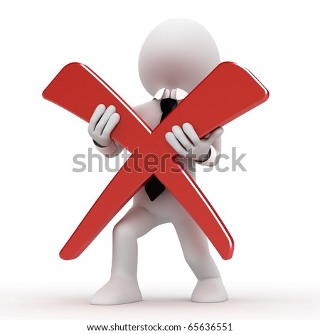 3D human with a cross - stock photo