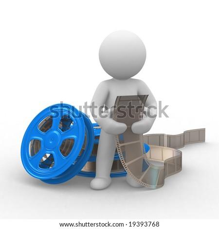 3d human with a movei film in hands