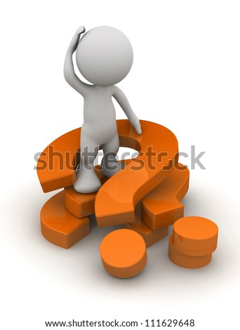 3d human with a red question mark. 3d illustration. - stock photo