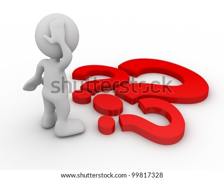 3d human with a red question marks. 3d illustration. - stock photo