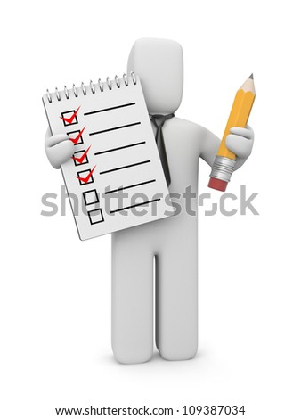 3d human with checklist and pencil - stock photo