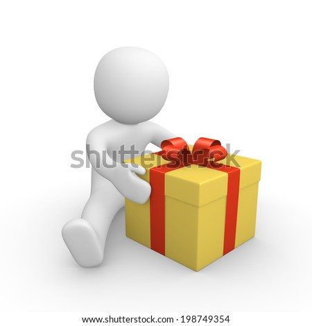 3d human with gift box - stock photo