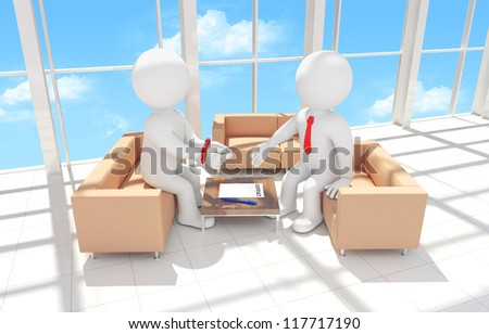 3d human with his hands tied signing a contract. Render - Interior of office building - stock photo