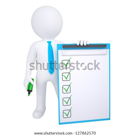 3d human with marker and check list. Isolated render on white background