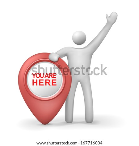 3d human with you are here symbol isolated white background - stock photo