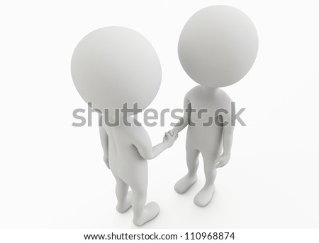 3d humanoid character businessman shake their hands