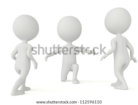 3d humanoid character - children goes to father on white - stock photo