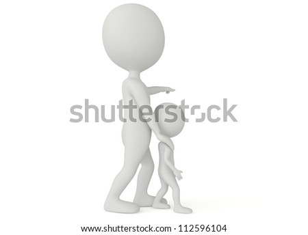 3d humanoid character father pointing with finger and his son looks