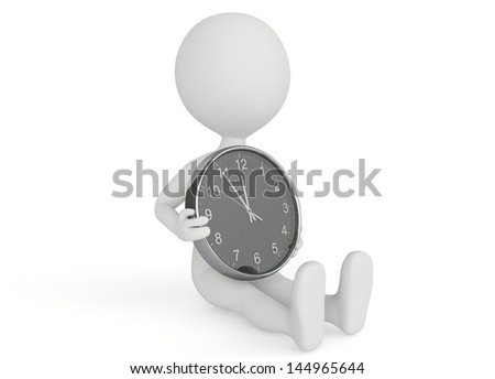 3d humanoid character hold a clock on white