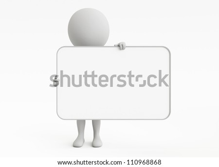 3d humanoid character hold a empty signboard