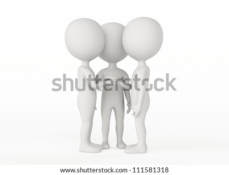 3d humanoid character on white  - Partnership and friends concept