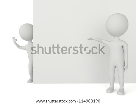 3d humanoid character with a empty board on white