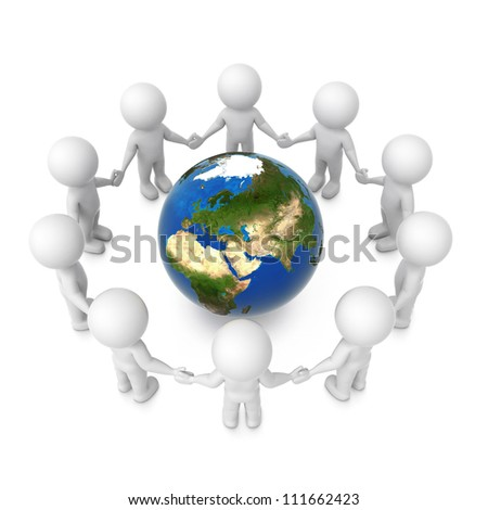 3d humans around earth isolated on white background. Elements of this image furnished by NASA