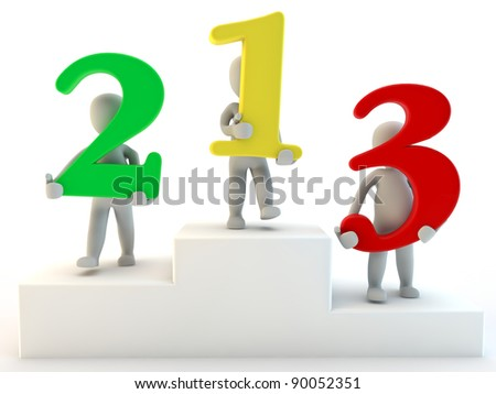 3D humans first second and third place , 3d render isolated on white - stock photo