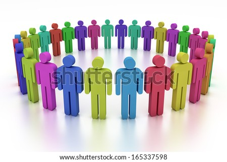 3d humans in a big circle - stock photo