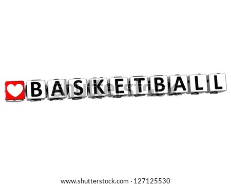 3D I Love Basketball Game Button Block text on white background