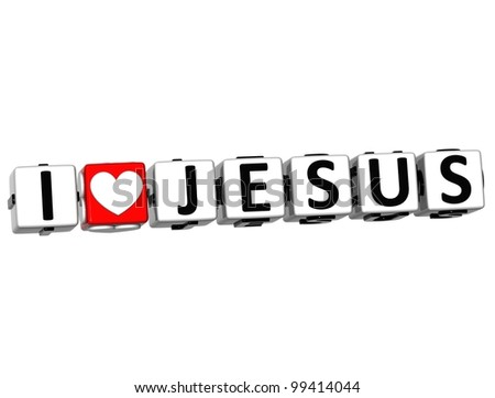 3D I Love Jesus Crossword Block text on white background - stock photo