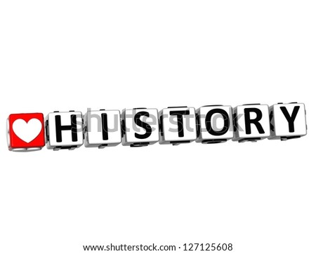 3D I Love Study History Button Block text on white background - stock photo