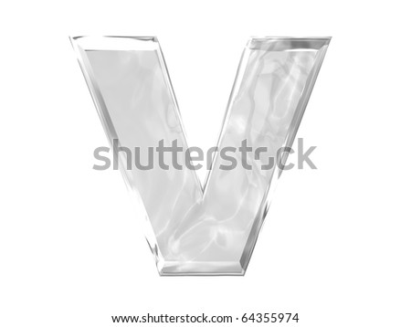3D ice alphabetic letter V, isolated on a white background - stock photo