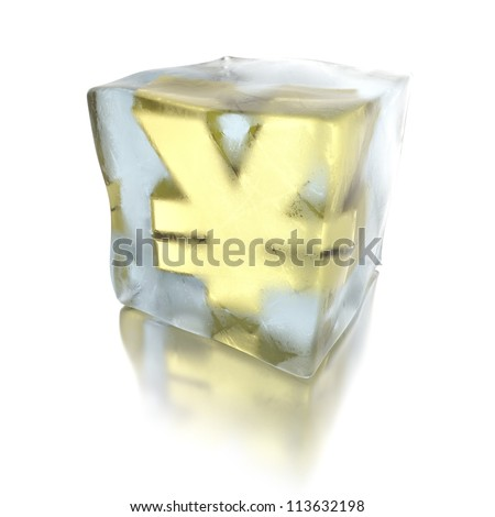 3d ice cube with golden Yen inside