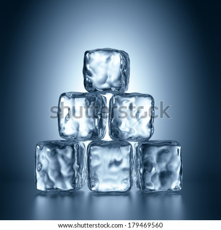3d  ice cubes pyramid, abstract illustration - stock photo