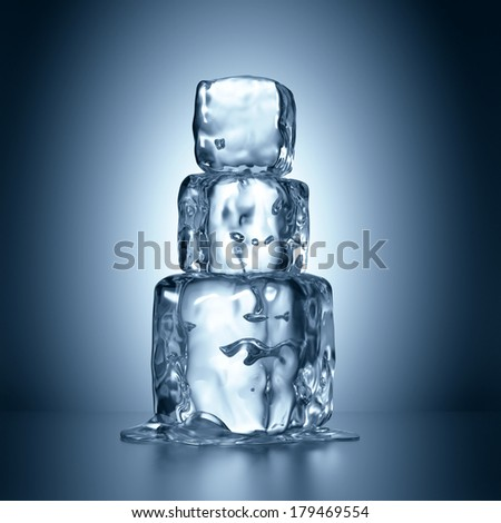 3d ice cubes tower melting, abstract illustration