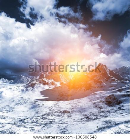 3d Ice desert - stock photo