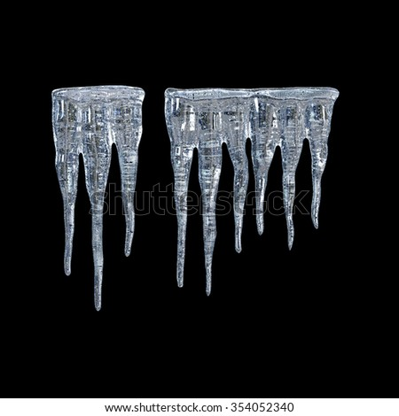 3d Icicles isolated on black background