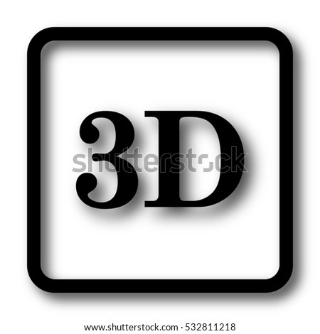 3D icon, black website button on white background.